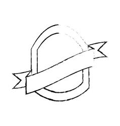 Shield with ribbon emblem sketch vector