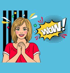 wow amazad retro girl vector image vector image