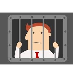 Cartoon businessman prisoner in jail vector image
