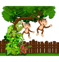 happy monkey cartoon vector image