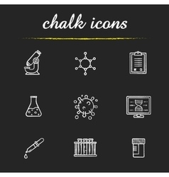 Science laboratory tools chalk icons set vector image