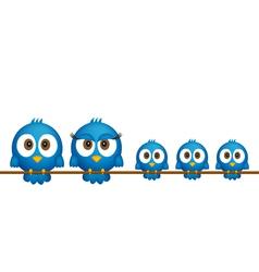 Blue birds family vector image