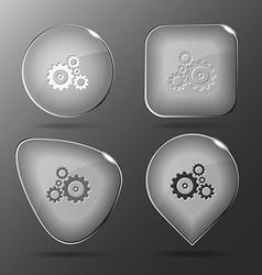 Gears glass buttons vector