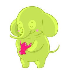 Green cartoon elephant hugs pink little bird vector
