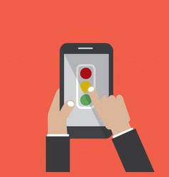 hand hold smartphone with traffic sign screen vector image