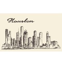 Houston skyline big city drawn vector image