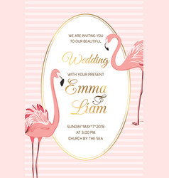 pink flamingo birds wedding invitation oval frame vector image