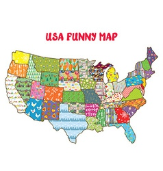 United States funny map with patterns vector image