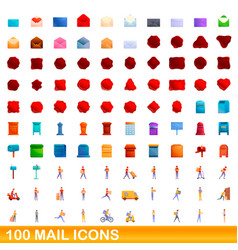 100 mail icons set cartoon style vector