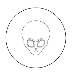 alien icon in outline style isolated on white vector image