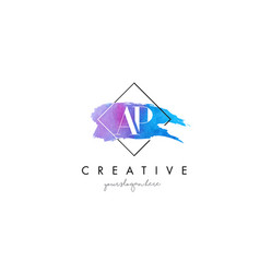 ap artistic watercolor letter brush logo vector image