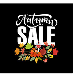 Autumn lettering typography vector image