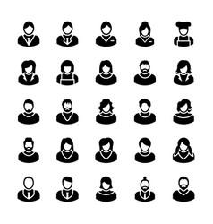 avatars glyph icons 10 vector image