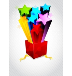 background with box and star vector image
