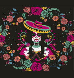 beautiful mexican skull woman design vector image