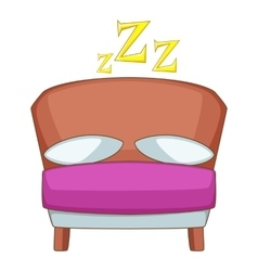 Bed icon cartoon style vector