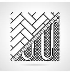 Black line icon for underfloor heating vector image