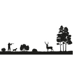 Black silhouette of a hunter and dog in the forest vector
