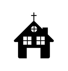 black silhouette of church in white background vector image