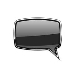 black speech bubble square 3d icon with chrome vector image