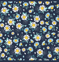 Black white daisies ditsy seamless pattern vector
