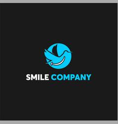 blue swan fun dental logo template vector image