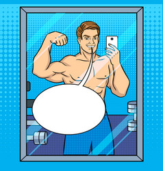 Body builder makes selfie in the mirror pop art vector