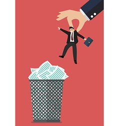 Boss throws a businessman in the trash can vector