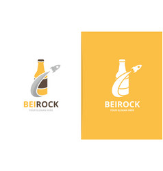 bottle and rocket logo combination beer vector image