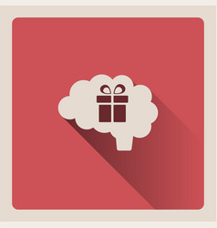 Brain thinking about a gift on red background vector