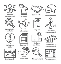 Business management icons in line style Pack 18 vector