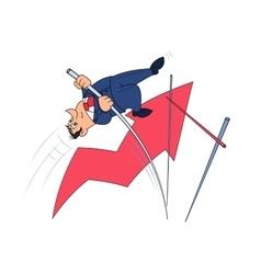 Businessman doing the pole vault 3 vector image