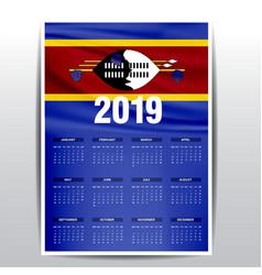 Calendar 2019 swaziland flag background english vector