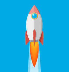 cartoon rocket in sky space ship take off vector image