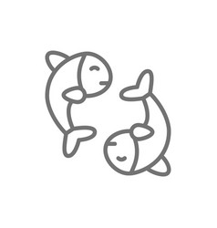 chinese fish puffer fish koi fish line icon vector image