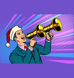 christmas sale businessman advertises with vector image