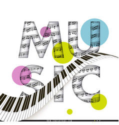 Classical music notes musical text and a piano vector