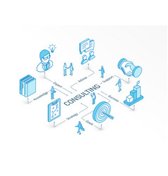 consulting isometric concept connected line 3d vector image