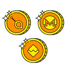 Cryptocurrency black outline gold icons monero vector