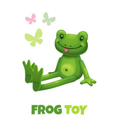 cute cartoon green frog stuffed toy baby vector image