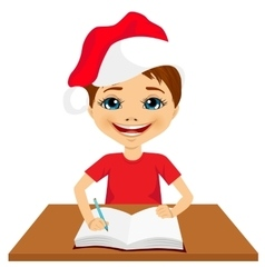 Cute little caucasian student boy writing vector