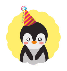 cute penguin birthday party hat vector image