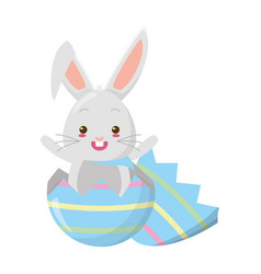 cute rabbit coming out easter egg vector image