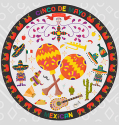 design in circular ornament 3 on mexican theme of vector image