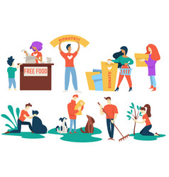 donation and charity volunteers free food and pet vector image