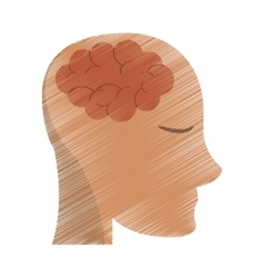 Drawing person head brain think vector