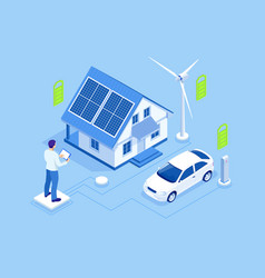 eco energy and ecology concept green energy an vector image
