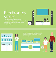 Electronics store banners with shopping people vector
