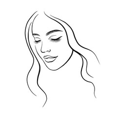 Face a beautiful young woman line art vector