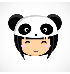 Face of a little cute girl in costume panda vector